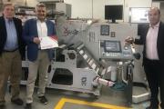 L-R: Pedro Huerta, Hans Ramon Hofmann and Cesar Dominguez from Manroland Latina with an OMET X6 machine