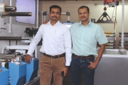 Mandar Ugar (left) and Abhijeet Ugar of Vikram Printers, Pune with their new Ultraflex UFO multi substrate press
