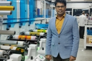 Karunakar, MD and CEO of Sreeven with the new 8-color Lombardi Synchroline 430 press