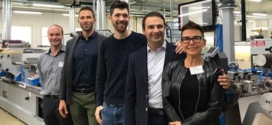 L-R: Tim Gordon, L&L; Luca Goldoni, Cartes; Sebastiano Lonardi, Grafical; Ivan Spina, Cartes; and Enrica Lodi, Cartes, in front of the Cartes GT360