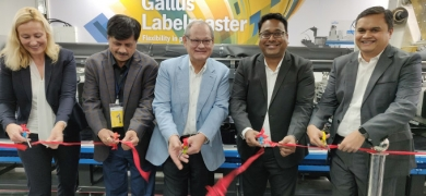 Ferdinand Rüesch, senior vice president, global key accounts, Gallus (center),  and Samir Patkar, president of Heidelberg India (second from right),  inaugurate the installation of Gallus Labelmaster 440 at ADIKC in Pune