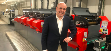 Labelgrafic general manager Enrique Desamparados with the company's Codimag Viva Aniflo press
