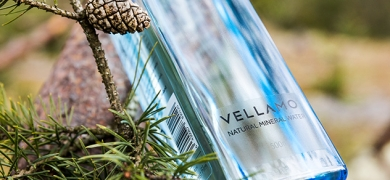 Vellamo's bottle is designed to look like a block of ice, reflecting the blue hue of the glacier