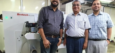 L to R: Kapil Vaidya, SP Ojha, Aditya Ojha in front of the new Brotech at Sonic Labels