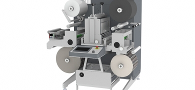 New Grafisk Maskinfabrik DC350Nano is an ultra-compact and cost-effective unit for self-adhesive lamination, semi-rotary die-cutting and length slitting of label web widths up to 350mm
