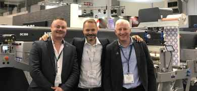 L-R: Adam James of CS Labels; Uffe Nielsen of GM; Simon Smith of CS Labels