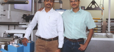 Mandar Ugar (left) and Abhijeet Ugar of Vikram Printers, Pune with their new Ultraflex UFO multi substrate press