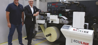 Hilton van Rensburg (VR Print) and Michael Aengenvoort (Rotocon) with the Rotocon Ecoline RDF 330 digital label converting and finishing machine