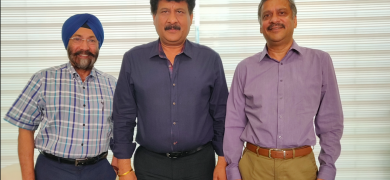 L to R: Harveer Sahni of Weldon Celloplast, LMAI president Kuldip Goel and treasurer Dinesh Mahajan discuss about the upcoming LMAI conference in July in Kochi