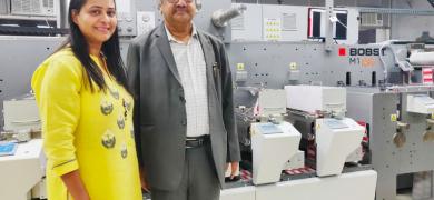 Deepak Gupta, CEO, Shree Lamipack (right) with Divya Gupta in front of the newly installed Bobst M1 Nova label printing press