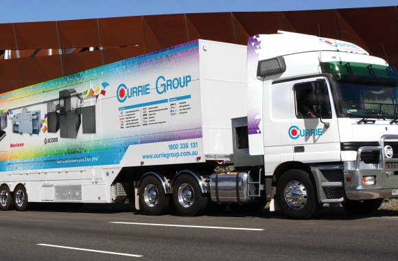 The mammoth vehicle doubles as a mobile showroom