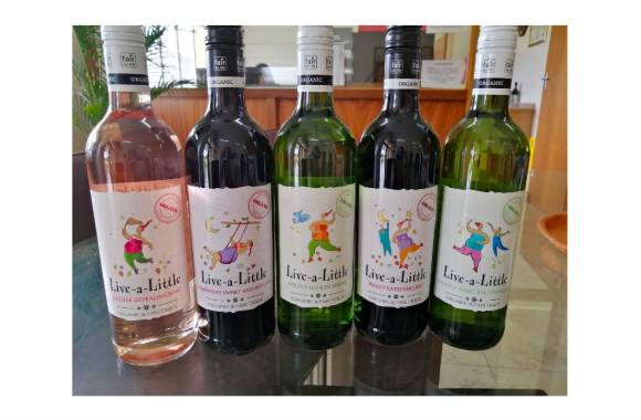 Stellar Winery's latest Live-a-Little organic wines have digitally printed labels printed by Coastal Labels on a Screen Truepress Jet L350UV digital press and finished on a Rotocon Ecoline RDF330 converting line