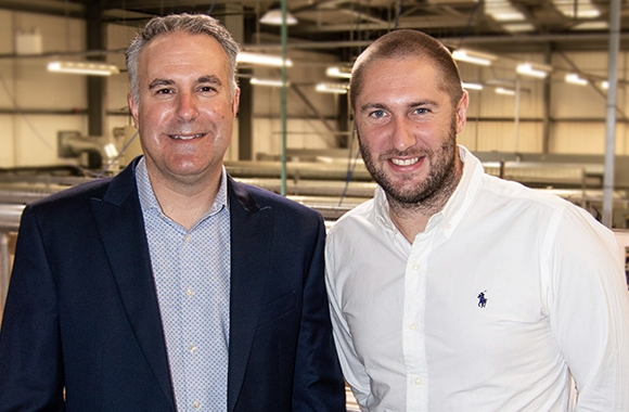 L-R: Tom Allum, chairman of Abbey Labels; Craig Rutterford, new sales director for Abbey Labels