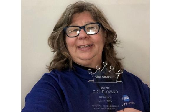 Dawn Nye receives 2020 Girls Who Print Girlie Award