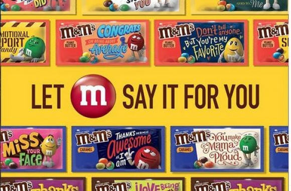 M&Ms launch personalized packaging campaign. Photo from M&M Instagram @mmschocolate