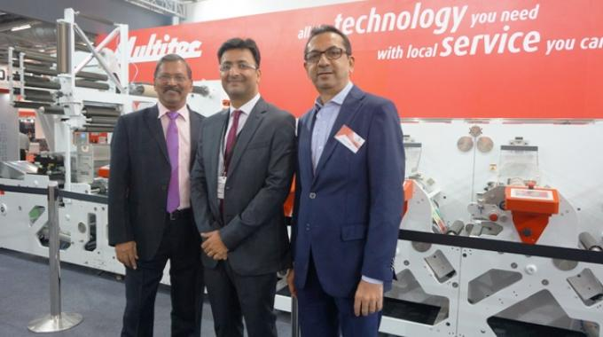 Pictured (from left): Sudhir Samant, vice president of business development at Multigraph Machinery; Amit Ahuja, managing director at Multitec; Sanjay Shah, Multigraph director at the Multitec stand on day one of Labelexpo India 2016