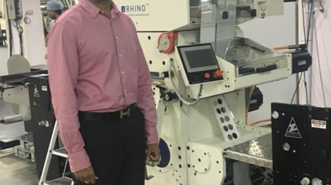 Hemanth Paruchuri, director at Pragati Pack with India's first Pantec Rhino II installed at his factory in Hyderabad