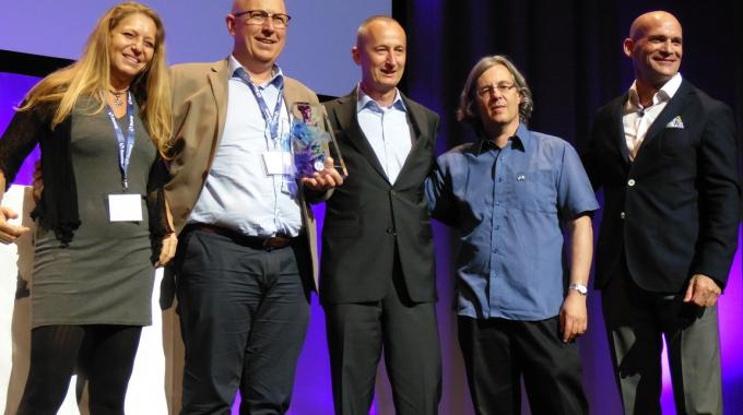 Coreti director general Luis Vilela (second from left) was presented with the Labels category trophy in the inaugural Inkspiration Awards