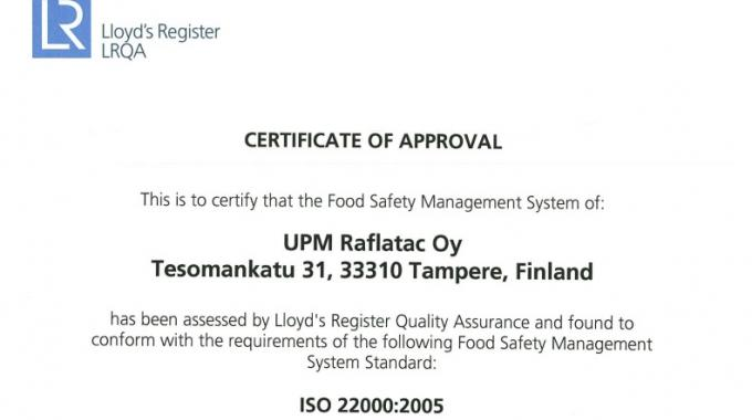 UPM Raflatac has been awarded ISO 22000:2005 food safety certification for its factory in Tampere, Finland