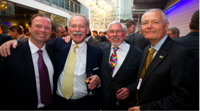 L-R: Nigel Vinecombe of Multi-Color Corporation, Noel Mitchell of UPM Raflatac, Barry Hunt of L&L and Jakob Landberg of Nilpeter at the Label Industry Global Awards in 2011