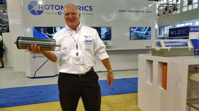RotoMetrics' Keith Laakko holding the light-weight magnetic cylinder