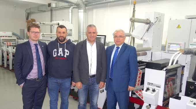 Pictured (from left): Timo Donati, Mark Andy, with Eidco Labels printer Charbel Boustani and managing director Eid Zgheib, and Abdo Khoury, sales manager of Mark Andy's local distributor Dynagraph