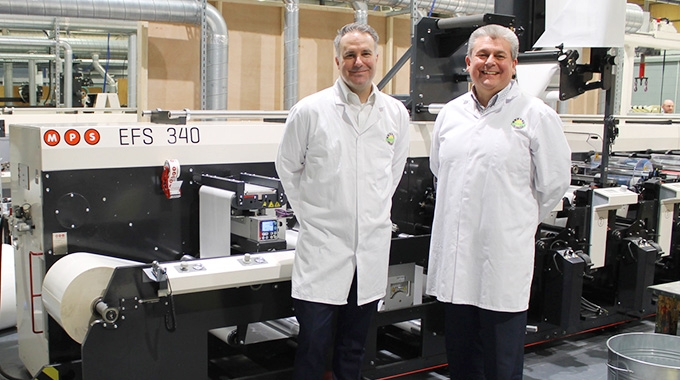 L-R: Tom Allum, chairman at Abbey Labels; Barry Pettit, managing director at Abbey Labels with the new MPS press