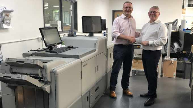 Steve Baker, managing director of Baker Labels with new Ricoh