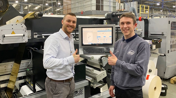 L-R:  Jamie Godson, technical manager of Baker Labels and Steve Playforth, AB Graphic, during the factory acceptance test at AB Graphic's facility in Bridlington