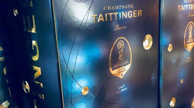 The Champagne Taittinger packaging design featured a blue and silver 'cosmic theme' to reflect the host country's achievements in space