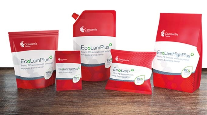 Constantia Flexibles has achieved up to 80 percent recycled content in a PE film using EcoLam laminates' waste