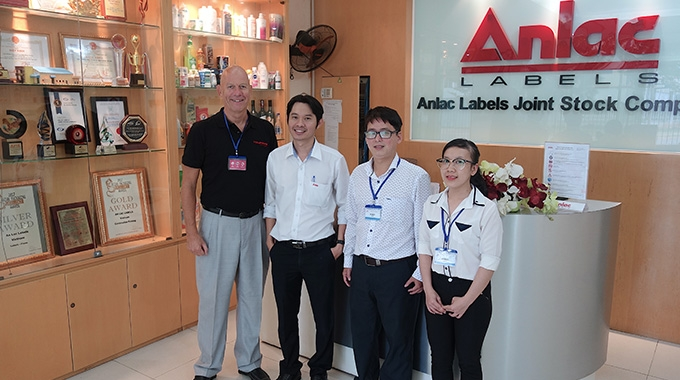 L-R: Finn Hinze, sales manager at Vetaphoe; Le Quoc Dung, purchasing manager at Anlac; Trinh Tran Minh Duc and Tran Thi Minh Thu of Toanan, Vetaphone's representative in Vietnam