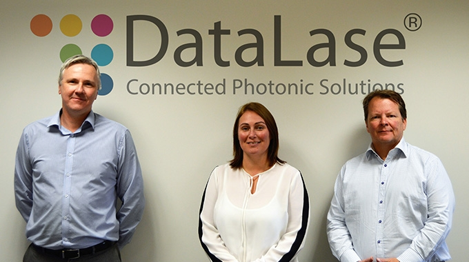 L-R: Alexander Grant, CTO;  Clare Lewis, CEO; and Paul Dustain, CSMO at DataLase