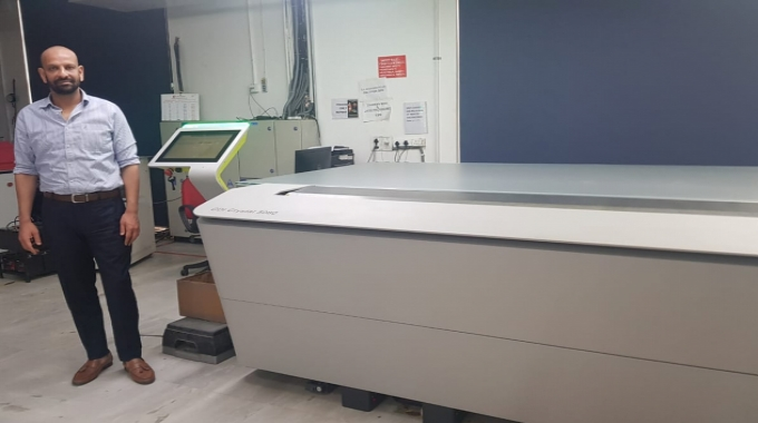Deepanshu Goel, managing director, Creative Graphics in front of the new Esko CDI Crystal 5080 flexo plate imager installed at company's plant in Noida