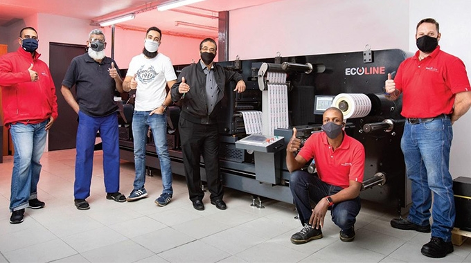 L-R: Rotocon's Durban branch manager, Akhmuth Sayed; Impress Print Services' project manager, Mahomed Sulaman and co-directors, Suhail and Ziyad Agjee; plus Rotocon technicians, Oscar Mashele and Shaun Scott.