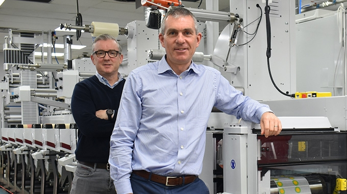 L-R: Johnny Woods, sales and finance director and James Costello, managing director at Label Tech in front of the newly installed Mark Andy Evolution press