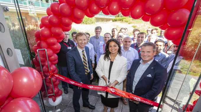 Pictured (from left): Clive Ayling, Meteor Inkjet managing director; Heidi Allen, MP; Gary Fry, CEO at Global Graphics