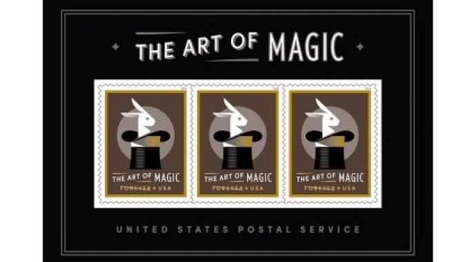 cThe featured product is a 3.7 x 5.1in collector's edition souvenir stamp sheet that displays a real life magical effect. When rotating the stamp up and down, an illusion of a white rabbit rising out of an empty top hat then magically disappearing is visible
