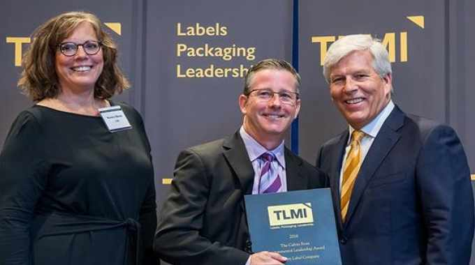 Rosalyn Bandy, TLMI's VP of sustainability, Scott Pillsbury, Rose City Label, Craig Moreland, past TLMI chairman
