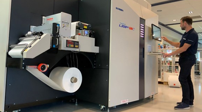 Screen's latest model, the Truepress Jet L350UV SAI, is now available for remote and on-site demonstrations at Screen's Technology Centre