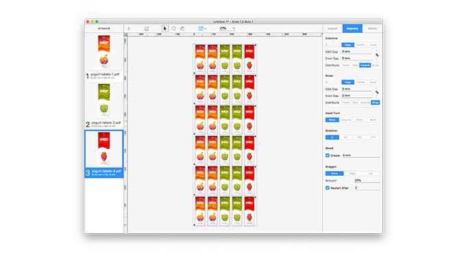 Tilia Aries is a cross-platform step-and-repeat tool for label printers that enables quick and easy layout for pre-print, cutting and finishing