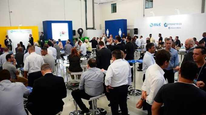 RotoMetrics' management team greets the plant opening attendees.