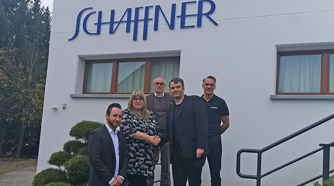 L-R: Kevin Bossard, manager of Digital Print at Schaffner, Cornelia Caffari, CEO of Schaffner, Ralf Schifferer, service manager DACH & Eastern Europe, Christoph Blank, Xeikon sales area manager DACH and Alexander Förster, technical manager