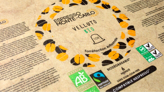 Flexo print on paper – medium (gold) Espresso from Monte Carlo Velluto by Roberts Mart & Co