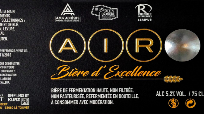 Beverage : 'AIR bière d'excellence', a sample beer label Azur Adhesifs