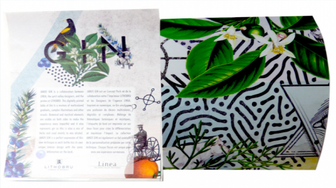 Variable data/limited edition (joint winners) : 'Janus Gin' variable-image test label Lithobru and Linea