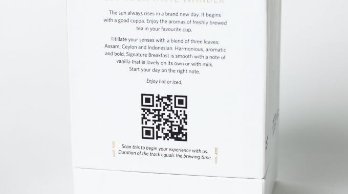 A QR code on the back of each pack is linked to a piece of specially-tailored music that not only sets the mood, but also acts a timer – when the music is done, so is the brewing process - scan this QR code to try the experience