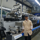 Krishna Ravindran with the new 10-color Gallus RCS 430 press installed at the company premises in 2017