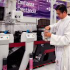 A Catholic priest blessed a new Mark Andy press installed at Etipress