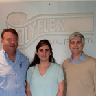 Stuart Baylis (left), head of production at Polyflex, and Gary Martin (right), systems and workflow specialist; in the centre is Digital Distributors' Danni Pearce